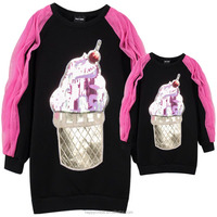 Mommy and Me Clothes 100% Cotton Beaded Sequin Ice Cream Patch Hot Pink Tulle Sleeve Black Torso Fleece Plus Size Dress