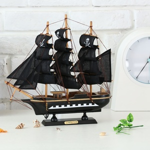 Hot Selling 33CM Pirate Creative Home Act The Role Household Wooden Boat Souvenirs Wood Sailboat Model