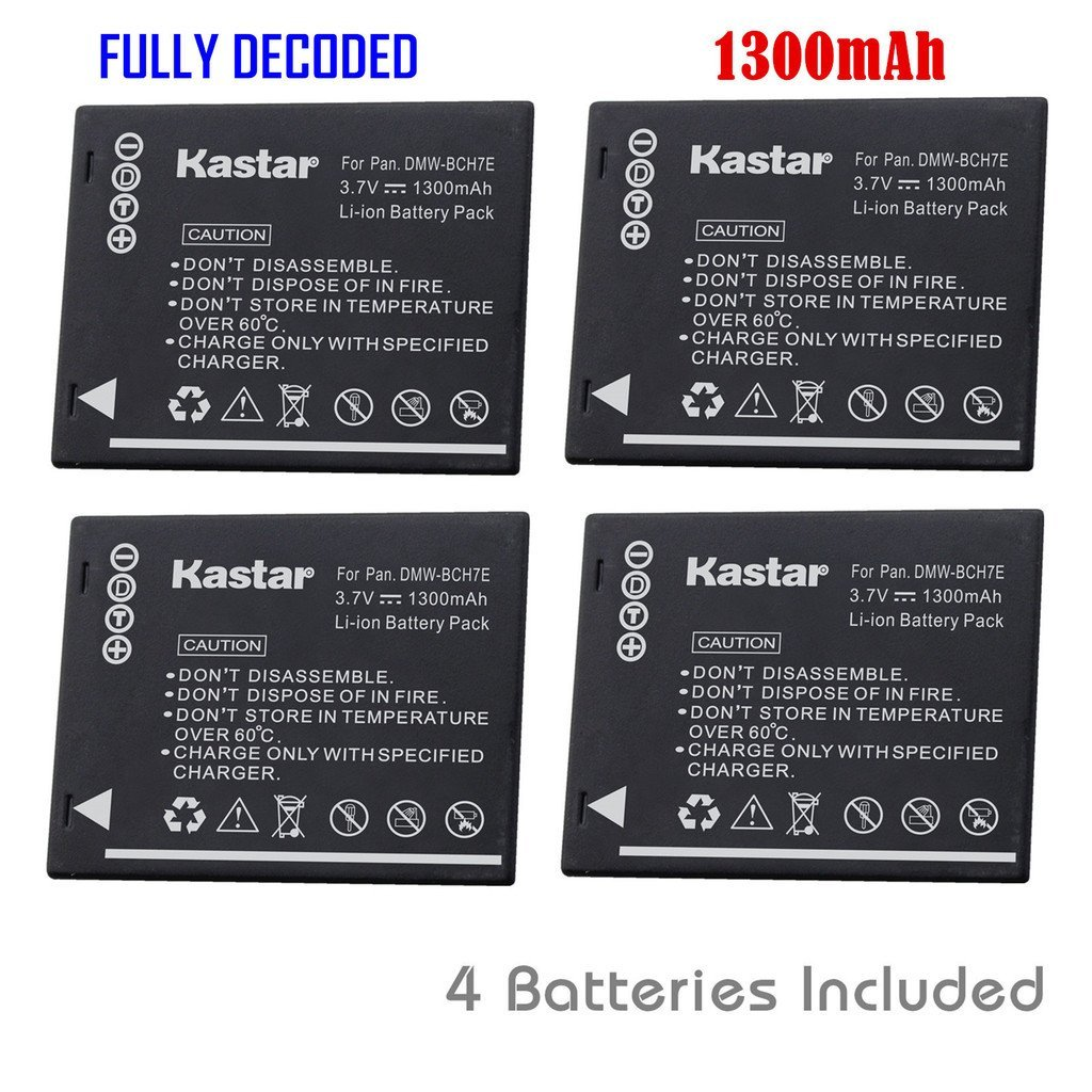 Kastar Battery (4-Pack) for Panasonic DMW-BCH7, DMW-BCH7PP, DMW-BCH7E, DE-A76 work with Panasonic Lumix DMC-FP1, DMC-FP2, DMC-FP3, DMC-FT10, DMC-TS10 Cameras