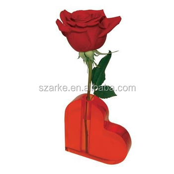 Heart Shape Desktop Decoration Colored Acrylic Flower Vasethick