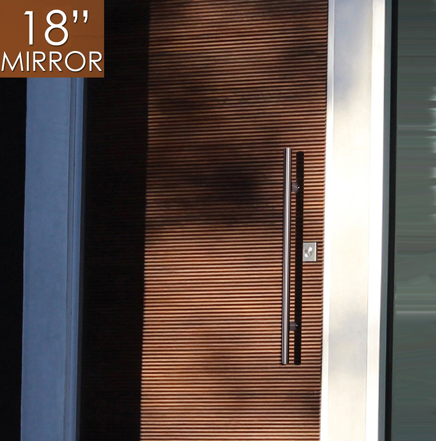 """Pull Push 18"""" Handles for Entrance Entry Front Door, Interior and Exterior, Mirror Finish, Storefront Door, Commercial Entry Gate and Office Door, Ladder Style."""