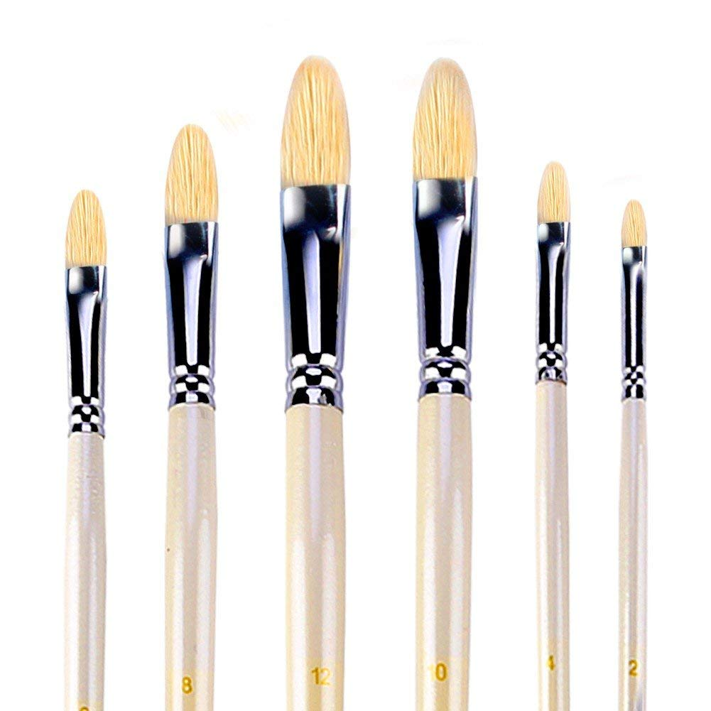 Paint Brushes Painting Supplies 3pcs Wooden Stencil Brush Hog Bristle Brushes Acrylic Watercolor Oil Painting For Child Painter