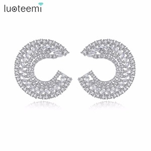 LUOTEEMI Small Crystal White Gold Color Charm Stud Earring With Geometrical Shape Half A Circle Earrings For Elegant Women