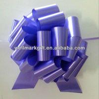 Purple Plain Poly POM POM Pull Drawstring Ribbon Bow