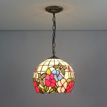 "12"" tiffany stained glass pendant lamp with butterfly design 12S5-3P11"
