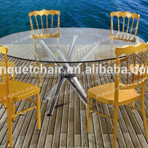 High quality glass round dining table with removable table leg