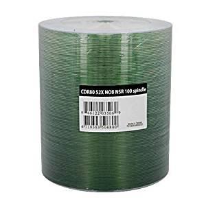 Ritek Ridata CD-R 52X Silver Shiny Thermal Hub Printable CDR Blank Media Discs (R80JS52-NOB100N) 80Min/700MB in 100 Pack Tape Wrap