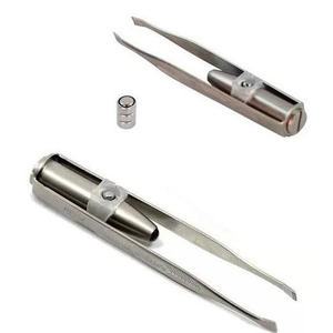 Hot sale LED Light Stainless Steel Eyebrow Tweezers