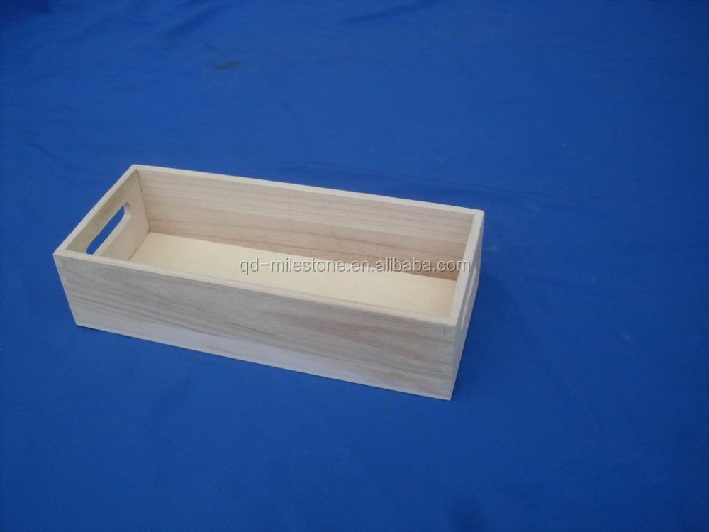 Unfinished Wooden Crate For Storage Paulownia Wood Wooden Book ...