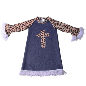New Fashion Spring Children Clothing Printing Girls'Denim Dress Kidswear