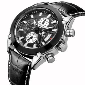 Megir 2020 Original Men Quartz Watch Reloj Hombre Leather Business Watches Man Clock Chronograph Army Military Watch Sport Male