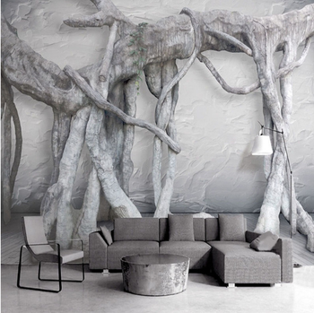 Epoxy Resin Art Black And White Forest Tree Living Room Wallpaper Product On
