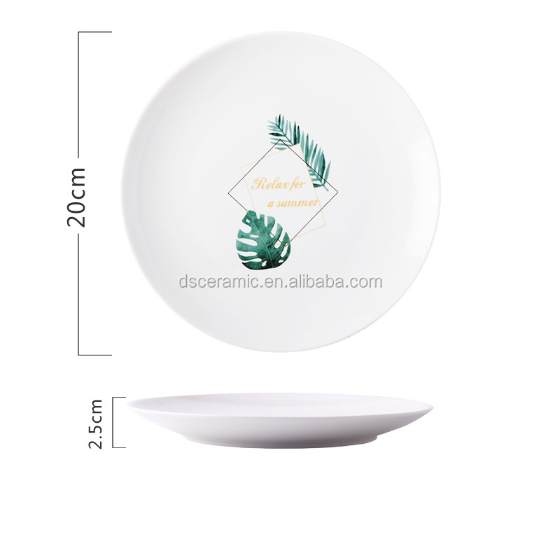white custom painted European Ceramic Porcelain Dinner dish charger Plate