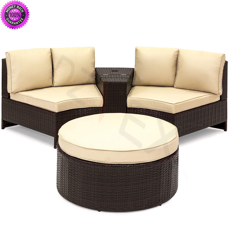 Get quotations · dzvex 4 piece backyard patio wicker sectional set w umbrella holderstorage brown and