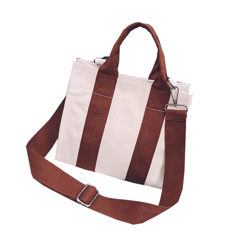 Fashion Simple Cotton Canvas Tote Cross-body Handle Bag With Custom Printing Logo