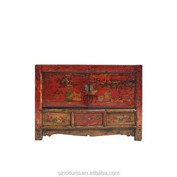 Asian Furniture Chinese Antique Classical Hand Painted Furniture High  Lacquer Antique Shoe Cabinet