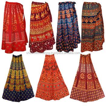 d28183a9b87d1 Jaipur Bagru Print Long Gypsy Women Sarong cotton wrap skirt India-wholesale  Indian camel print