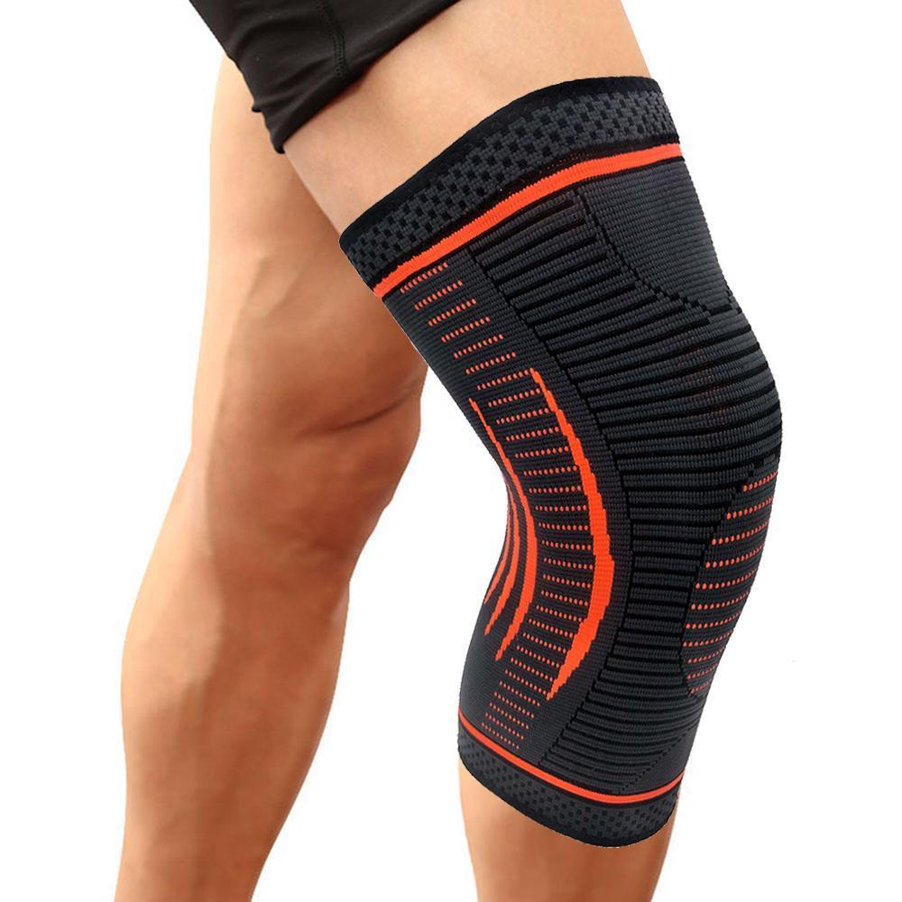 high quality copper bandages Quick dry thick compression knee brace hinge knee support sleeves, Orange