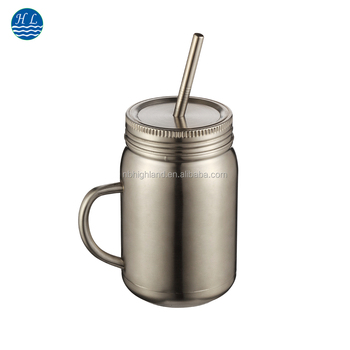 163331a7bfb 24oz New Design Customized logo printing single wall thermos stainless  steel mason jar tumbler with handle