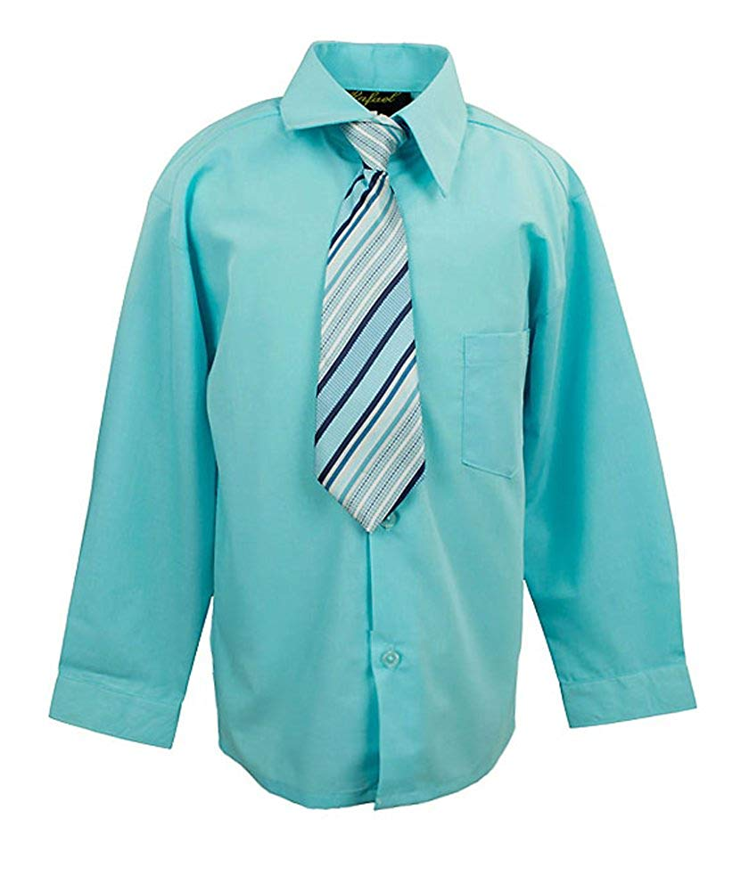 b79e2f4d25ad Get Quotations · iGirldress Boys Solid Dress Shirt and Tie Set 16 Aqua