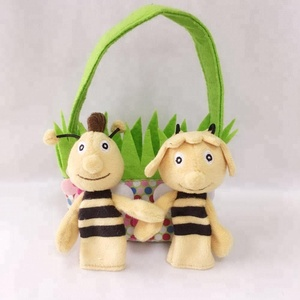 plush stuffed animal toys finger puppets girl and boy bees with wing