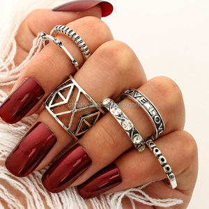 6PCS/Set Bohemia Vintage Turkish Beach Rings For Women Tibetan Silver Color Knuckle Joint Midi Women Rings Sets