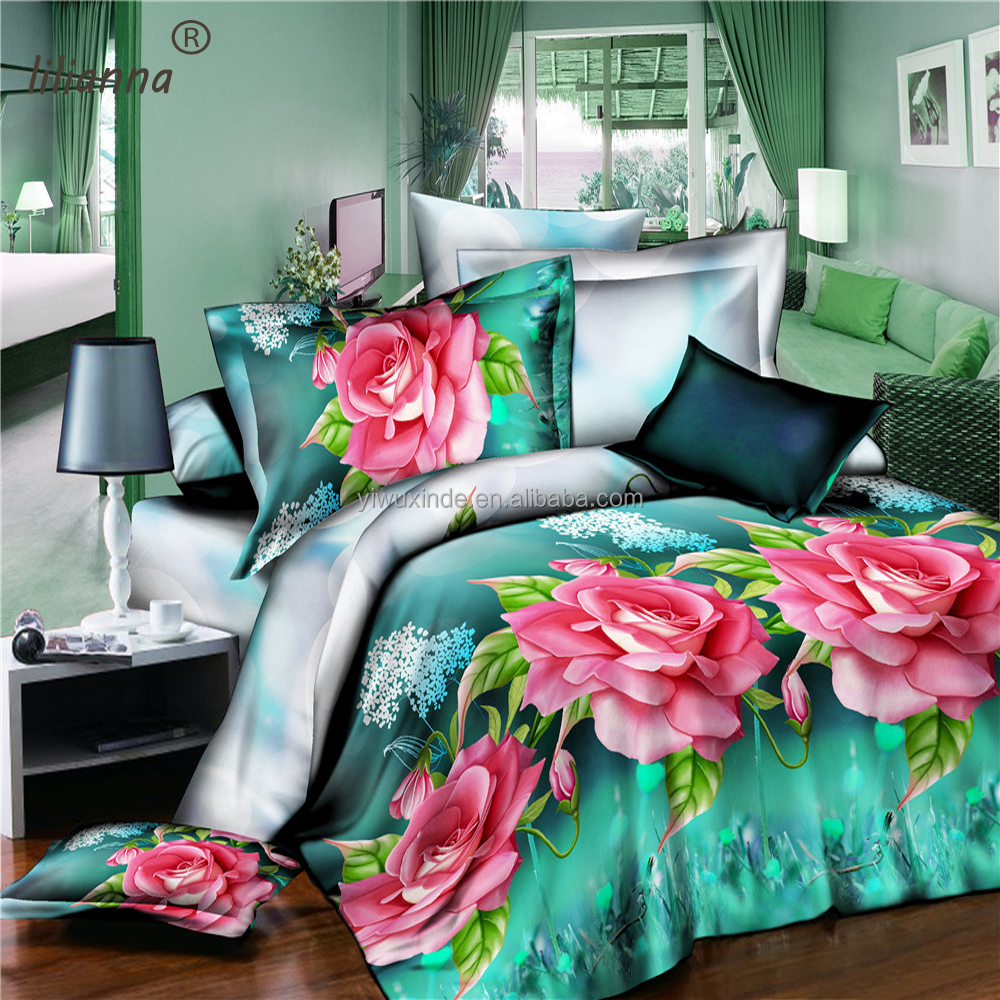 High class new 3d bedding sets floral luxury king size bedding sets