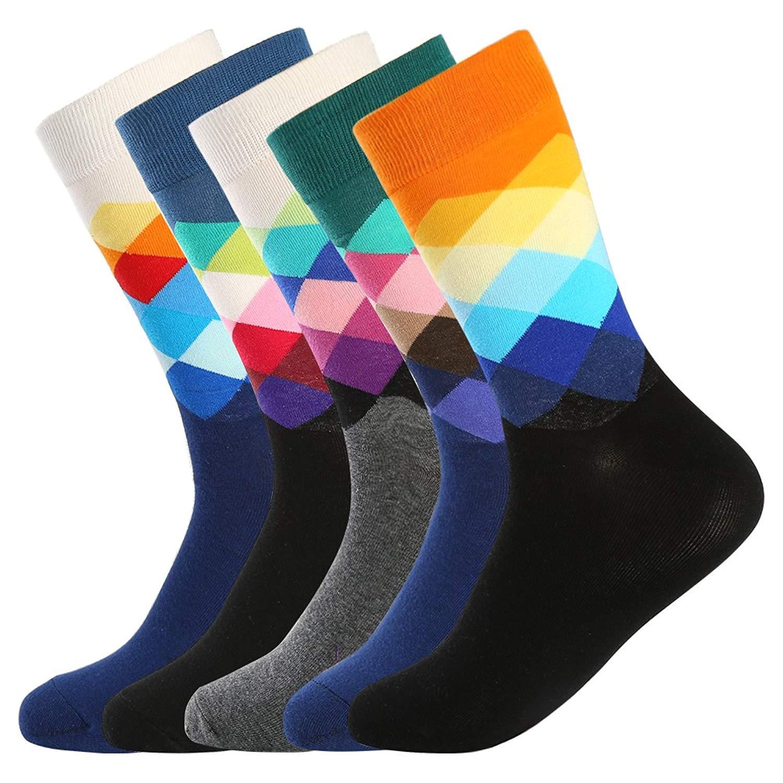 b75e2a63f0ed Get Quotations · Bonangel Men's Fun Dress Socks - Colorful Funny Novelty  Crazy Fashion Office Crew Socks Pack,