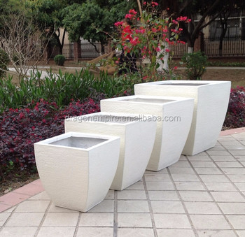 Large Outdoor Rectangular Fibergl Clay Planter Box White Square Garden Flower