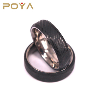 POYA Jewelry 6mm Him And Her Black Damascus Steel Wedding Bands With Titanium Inner Ring
