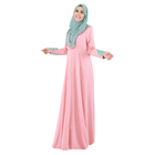 Wholesale muslim lace sleeve dress ayaba polyester material loose long dress islamic for women