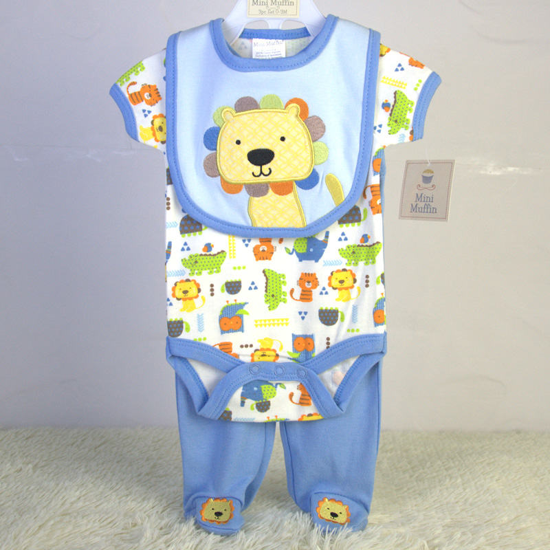 100% cotton newborn baby clothing sets for boys & girls 0-3M 3-6M 6-9M infant bib & bodysuit & pants 3pc set cheap price