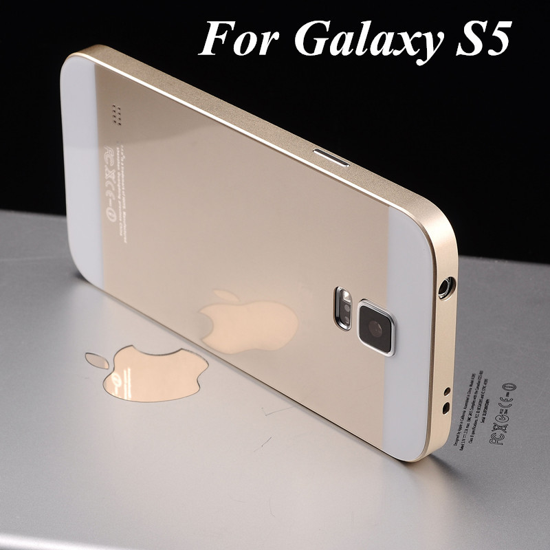 buy popular c2baa b17c1 S5 Luxury Ultra thin Aluminum Metal Frame And Acrylic Battery Back Cover  Case For Samsung Galaxy S5 I9600 2 in 1 Phone Bag Cover