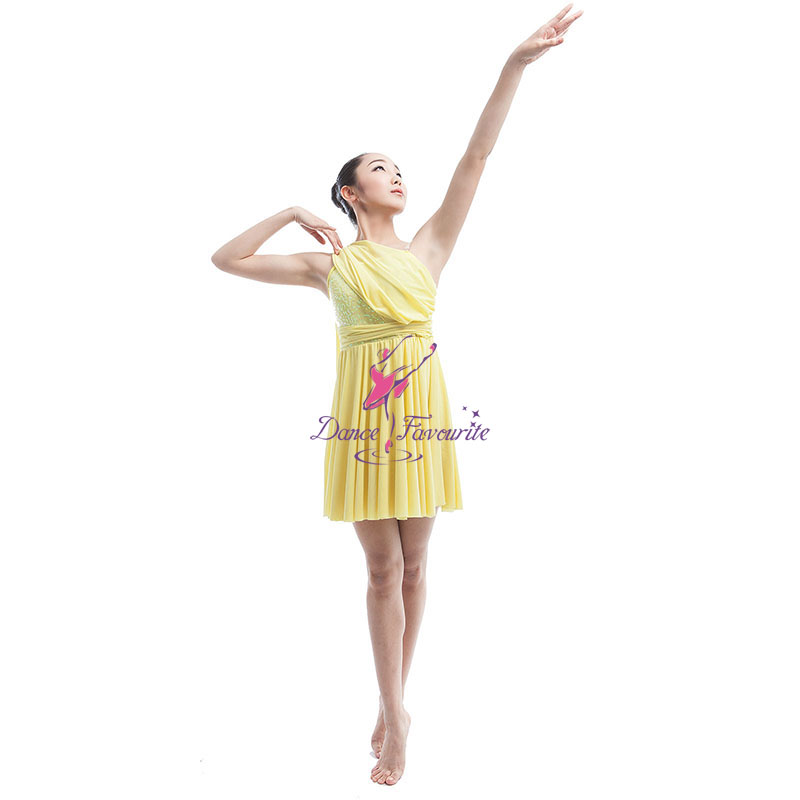 43970eb0ff DanceFavourite Yellow Sequin Stretch Spandex Bodice with Stretch Mesh Skirt  Lyrical &Contemporary Dance Costume Mesh Dress