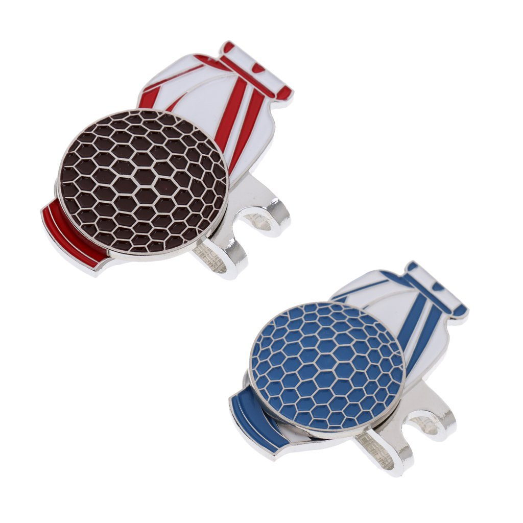 MonkeyJack 2 Pieces Golf Bag Alloy Magnetic Hat Clip with Golf Ball Marker Golfer Gift