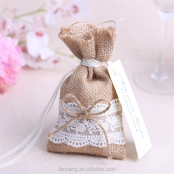 Burlap Jute Vintage Wedding Favor Gift Candy Bag Drawstring Pouch Small Pouches Indian Bags Product