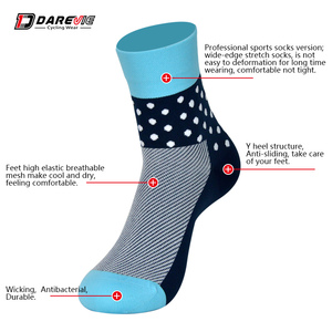blue red cycling socks custom made, equispaced hexagons round ankle, the styles of left and right are different in design