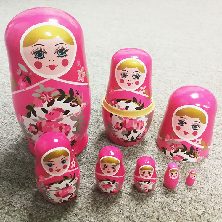 Wooden Russian Nesting Dolls Matryoshka Wood Nested Stacking Dolls