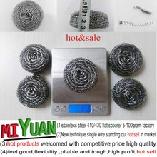 low price stainless steel kitchen scrubber / scourer / cleaning ball/kitchen sponge scourer with high quality