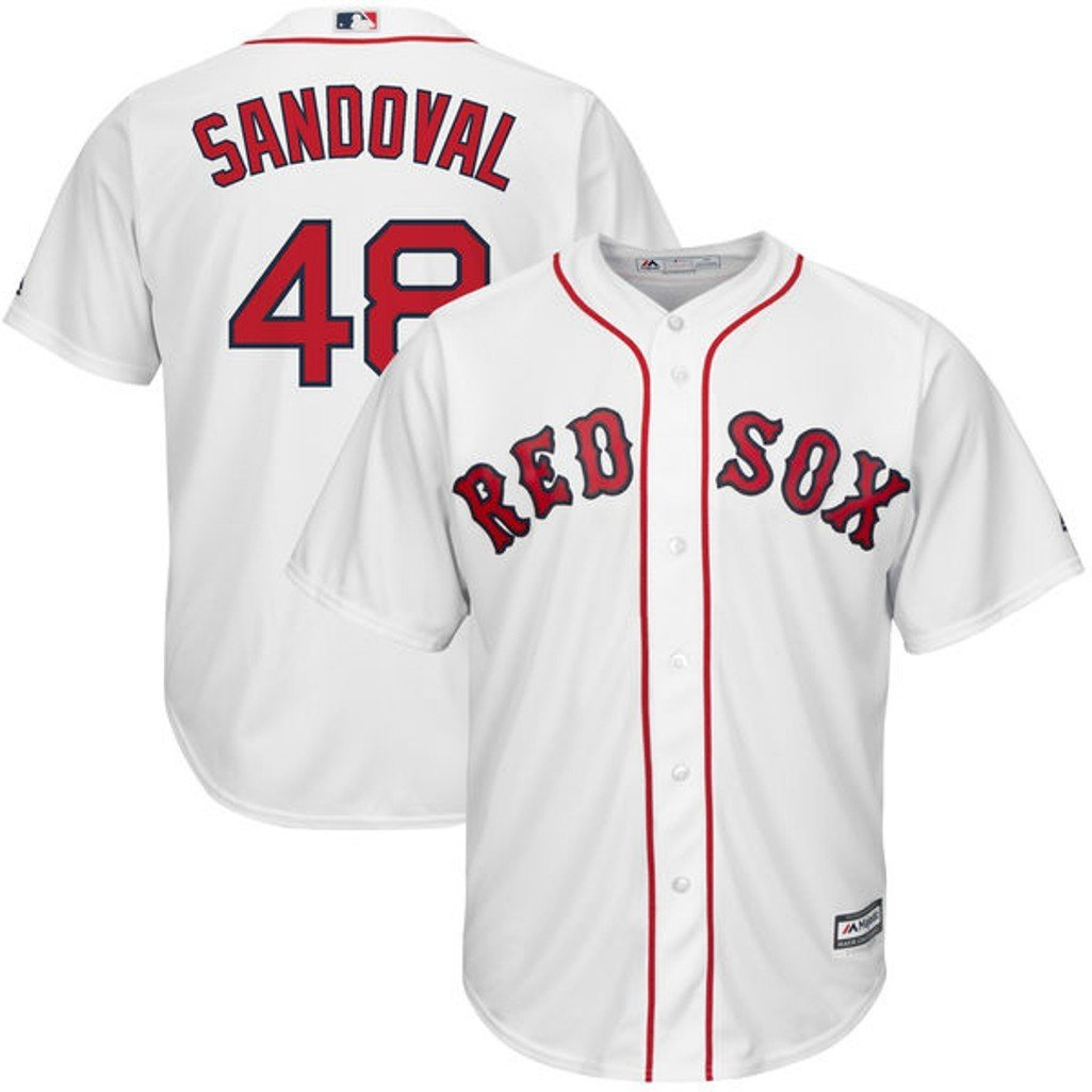 858f10586 Get Quotations · Boston Red Sox MLB Mens Majestic Pablo Sandoval Cool Base  Replica Jersey White Big   Tall