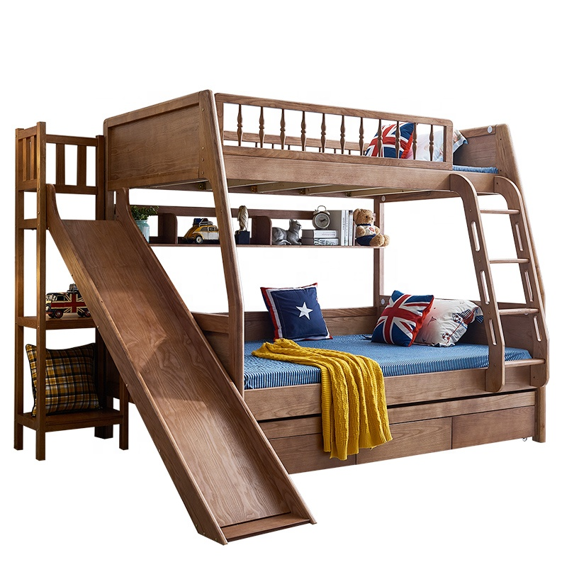 Children bedroom furniture Solid wood bunk <strong>bed</strong> dorm <strong>beds</strong> with slide or stairs drawer