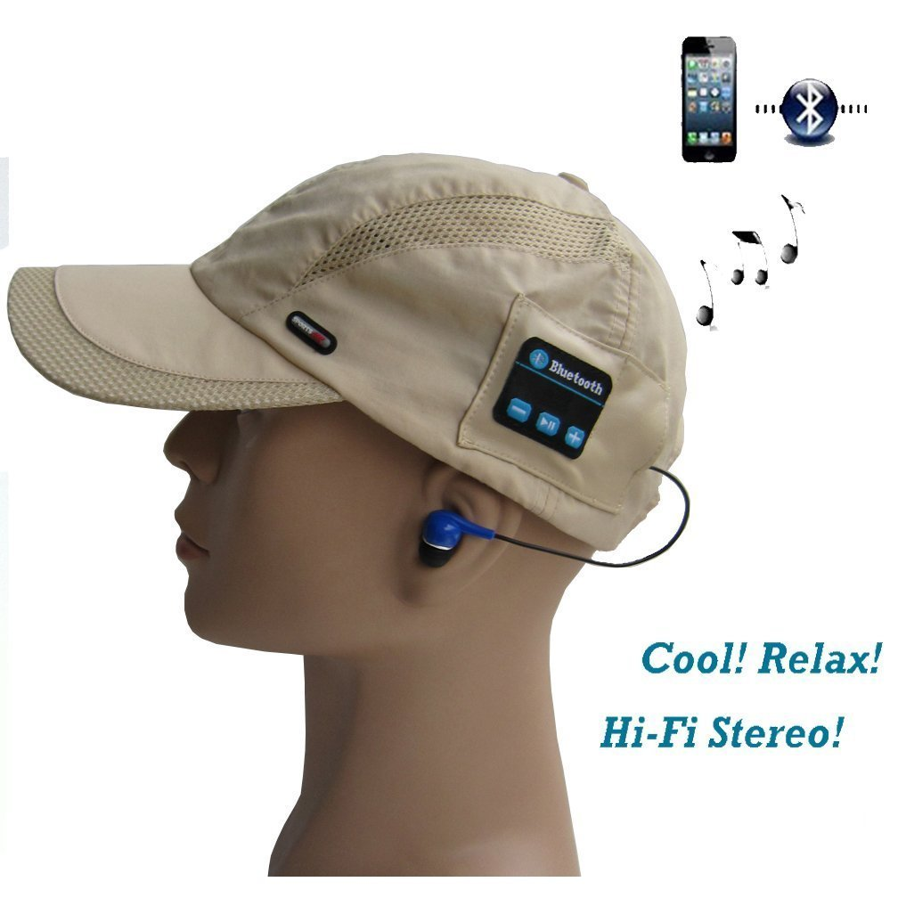 BearsFire® Wireless Bluetooth Baseball Cap Music Sun Hat Hands-free Phone Call Answer Headphone Headset with Earphones Stereo Speakers & Mic Bluetooth Cell Phone Headset (Khaki)