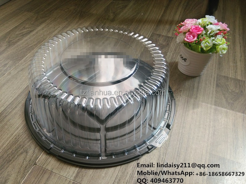 Round clear disposable plastic birthday cake dome containers