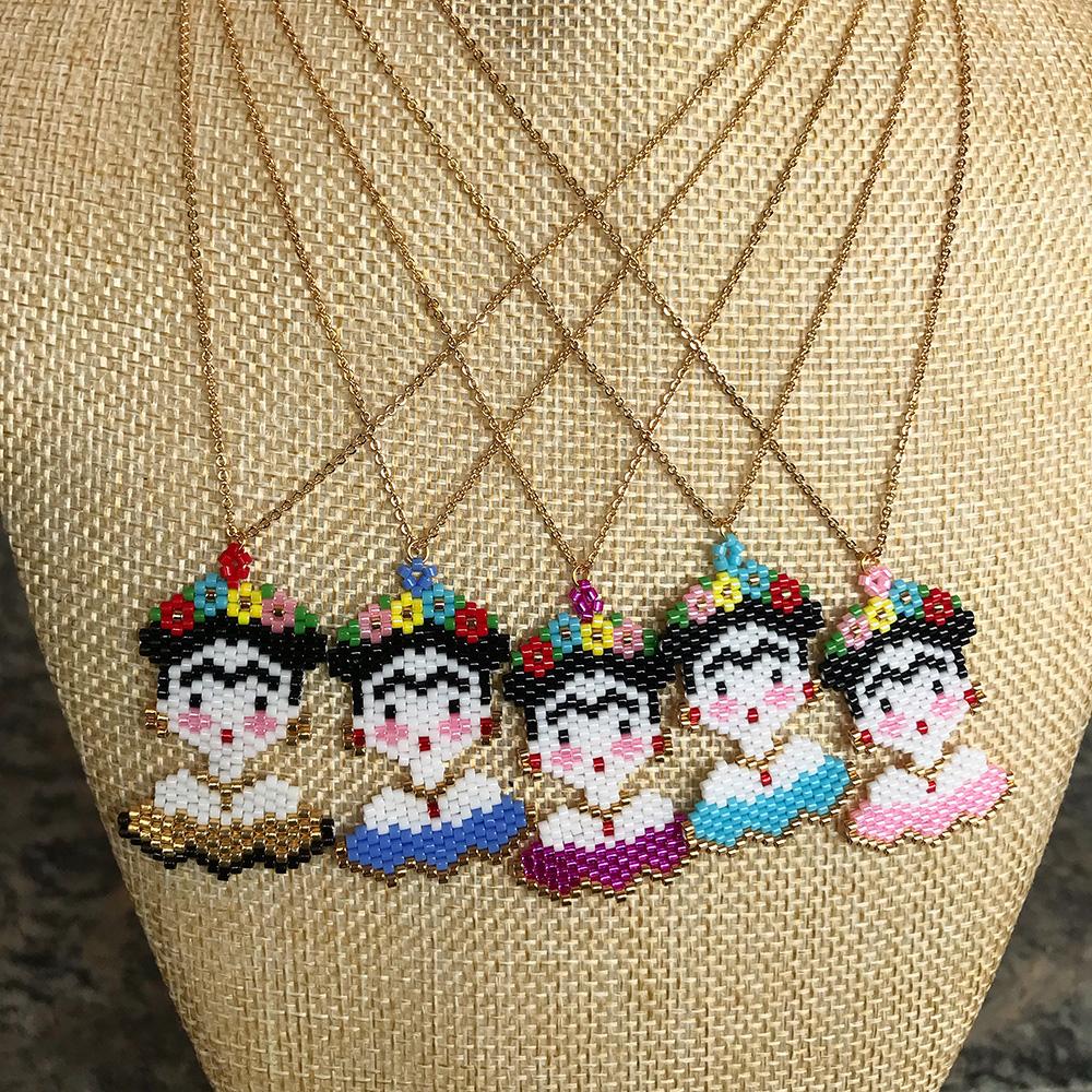 Frida Handmade seed beads necklace friendship wrap frida kahlo miyuki beads necklace фото