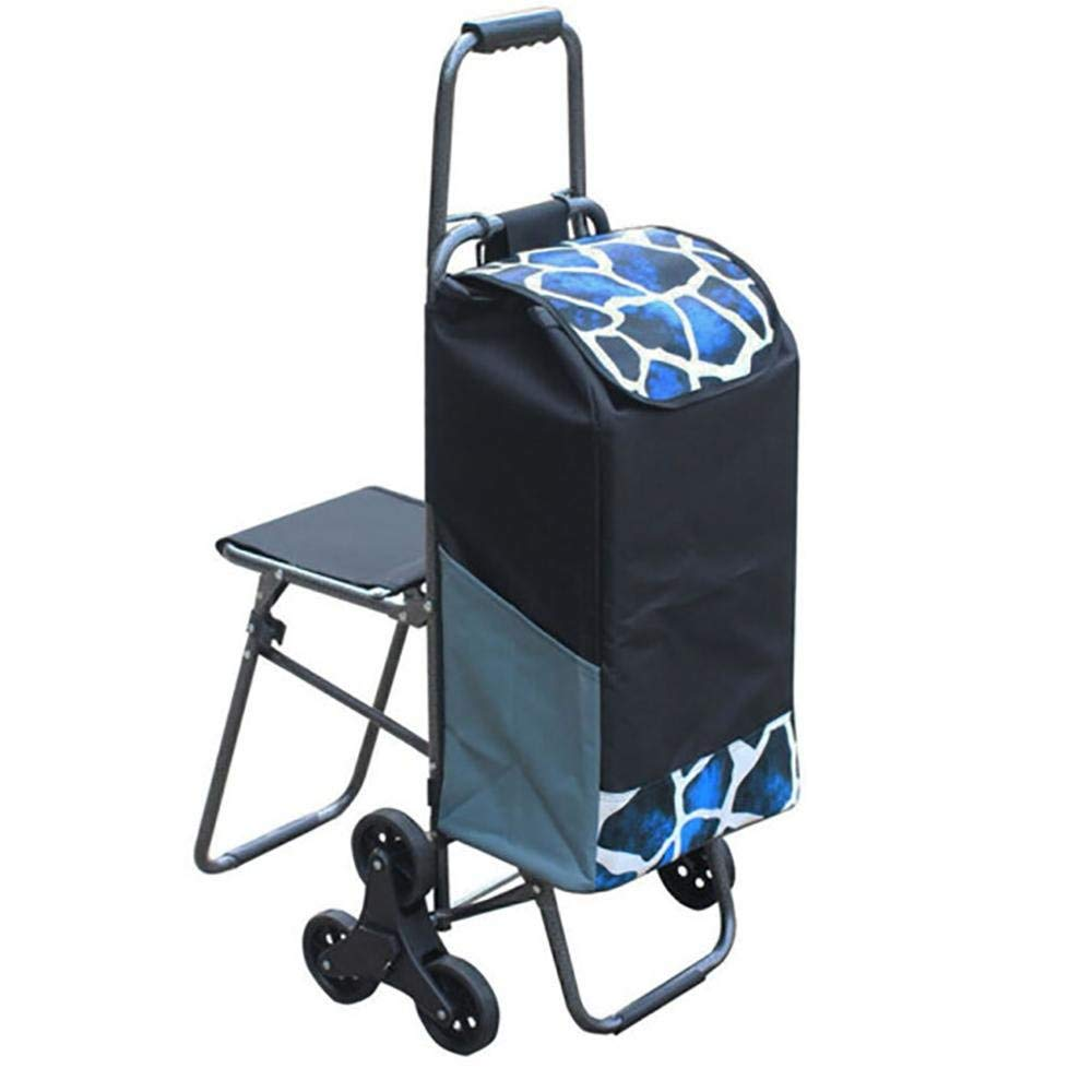 HCC& Trolley Dolly with Seat Foldable Climb the Stairs Large Capacity Lightweight Shopping Grocery Foldable Cart , Black