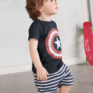 2018 New product wholesale summer boys clothing children's pure cotton short-sleeved T-shirt set
