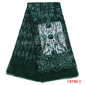 Latest Sequins Nigeria Fashion Party French Lace Fabric Guangzhou Factory Price XZ1474B