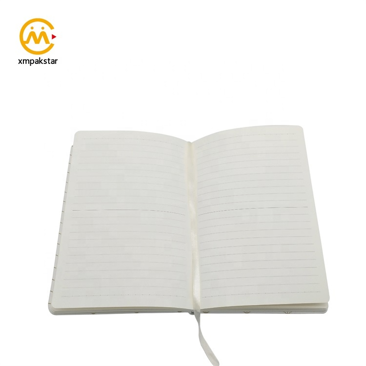 Personal promotion white hard cover PU grid journal notebook with foil stamping