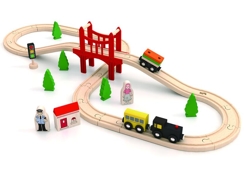 New hottest educational 37 pcs railway wooden train toys for kids