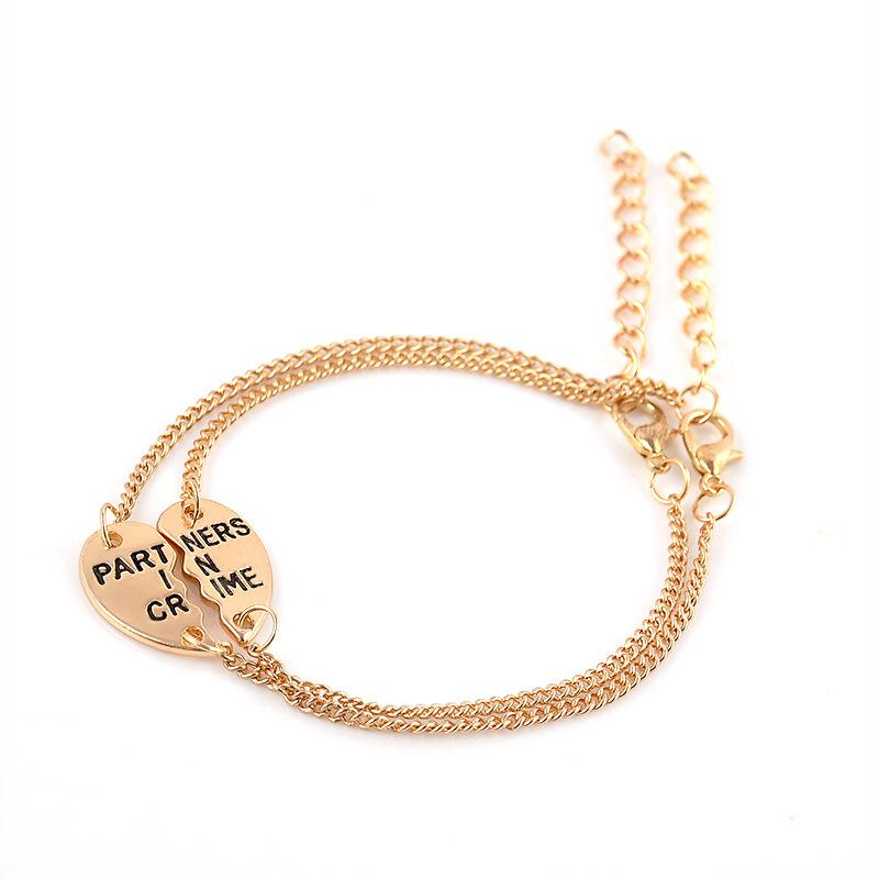 2 Pcs Set Partners In Crime Bff Braceletfriendship Broken Heart Bracelet Best Friends Forever Gift Friend